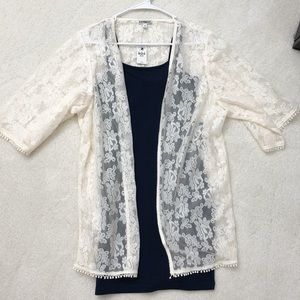 Express lace kimono/ bodycon dress